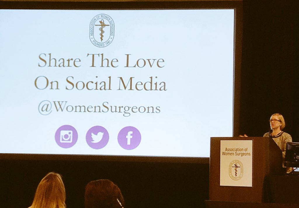 .@WomenSurgeons Comm Comm's @scrubbedin asks everyone to engage on #SoMe during #AWS2017 #AWSselfie17 #AWSatACS<br>http://pic.twitter.com/28ejnhjVO2