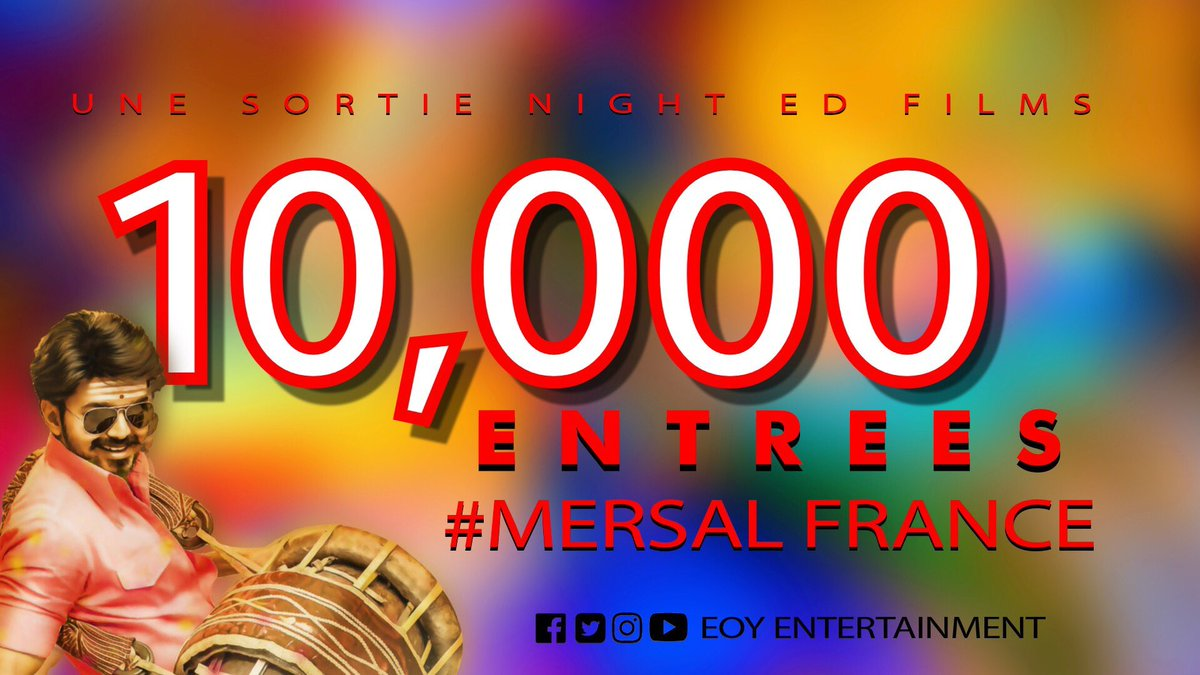 #10K entries for #Mersal  in #France  #Thalapathy #Vijay #BlockbusterMersal  #MersalFrance MERSAL 100CRS IN 3DAYS<br>http://pic.twitter.com/0s3n6Jrjyq