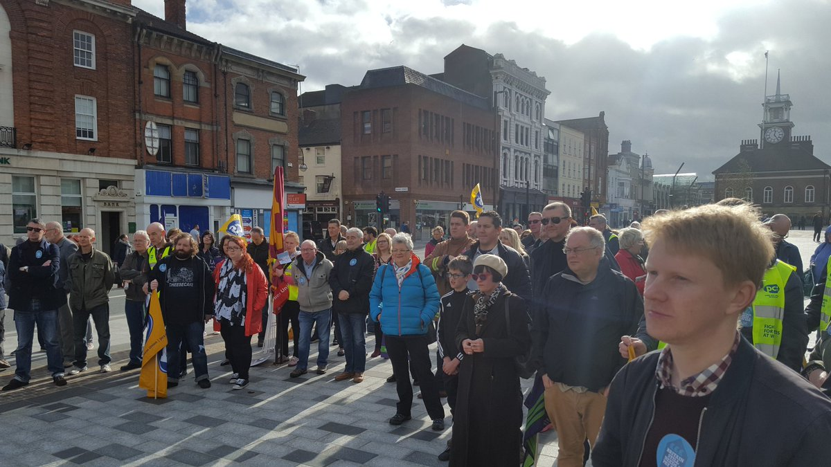 .@FBUCleveland reps show #solidarity with other Unions at Stockton #britainstillneedsapayrise rally.<br>http://pic.twitter.com/n57xm1g7q2