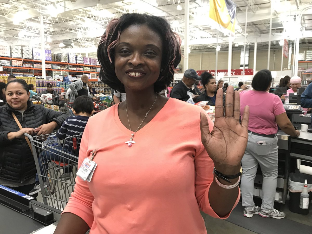 Stephanie Wilson On Twitter Costco Cashier Juliana Sports Pink In Hair And Say She Loves Abuddy Andrea Roanes Commitment To Breast Cancer Health