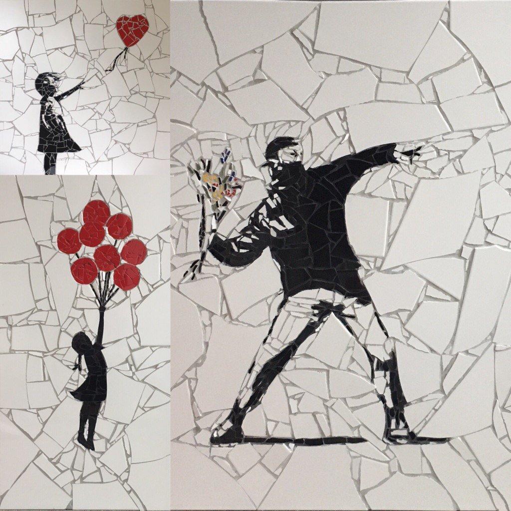 A trio of Banksy mosaics. They will be @BuyArtFair next week. #banksy #streetart @bbcarts  #mosaicart #art #follome <br>http://pic.twitter.com/33s6GG06YQ