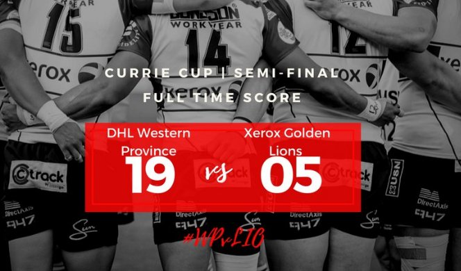 And that is that!   #WesternProvince will face the #Sharks in the Final of the #CurrieCup  Final Score: #WP 19 - 5 #LIONS  #WPvLIO<br>http://pic.twitter.com/17fWh3k32V