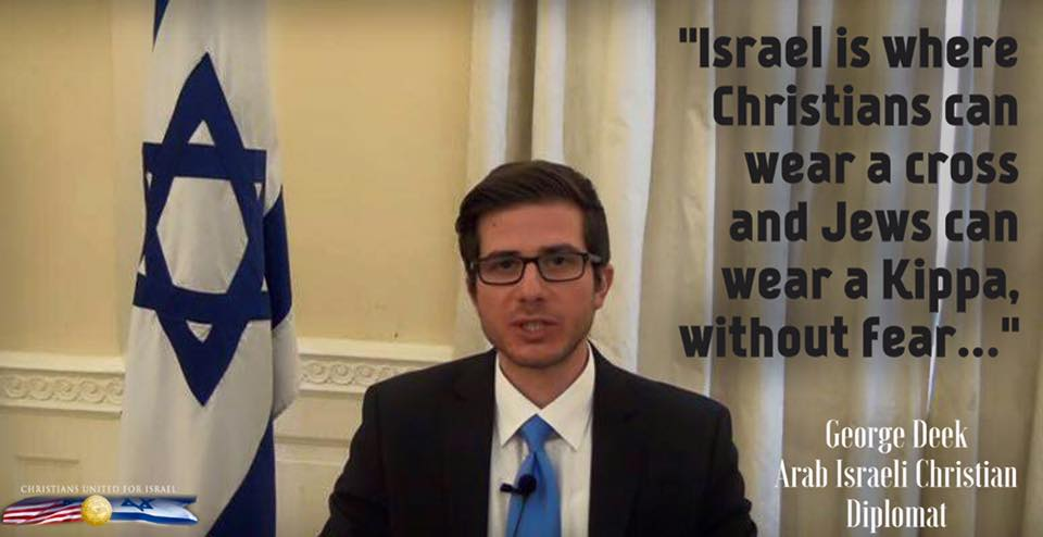 Only in one Middle Eastern country can a Jew wear a kippah and a Christian wear a cross without their life being in danger: #Israel <br>http://pic.twitter.com/FnBHoLDVrE