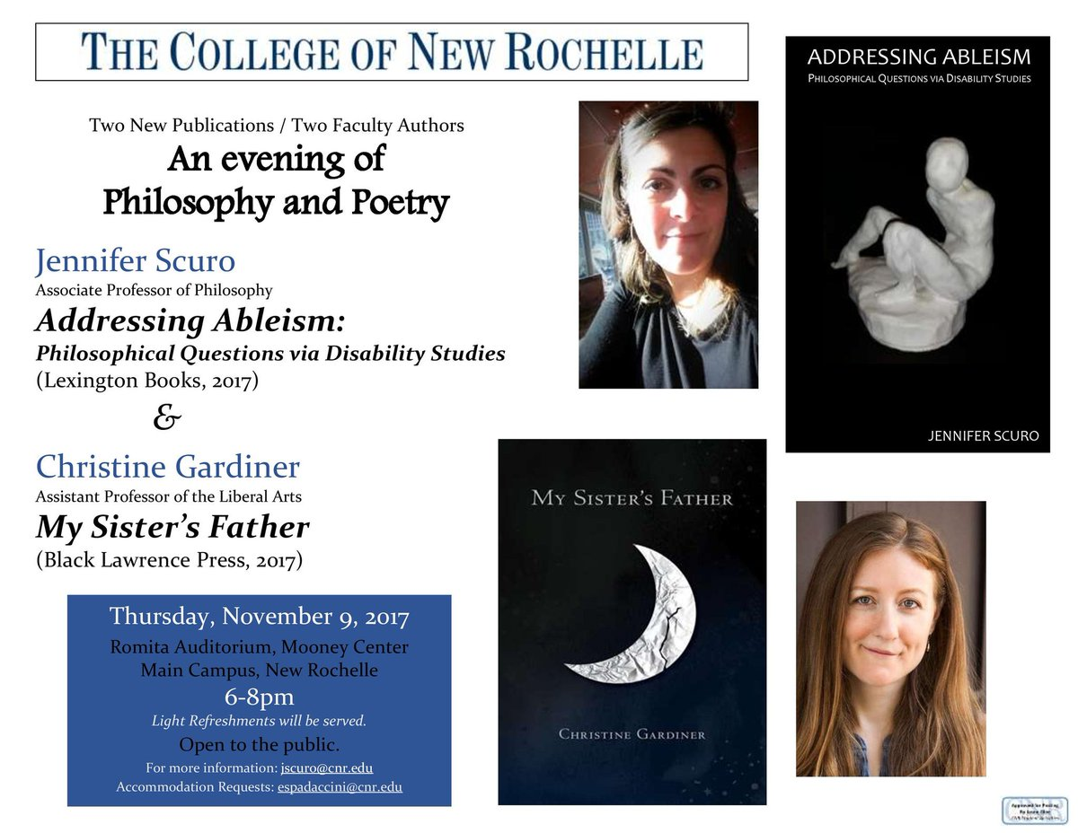 @CNR1904 @RLI_Philosophy @RLPGBooks @RowmanInternat My book talk on addressing #ableism / Nov. 9 @DocktorHavis @autistichoya @joelmreynolds<br>http://pic.twitter.com/FQYPT8nHqq