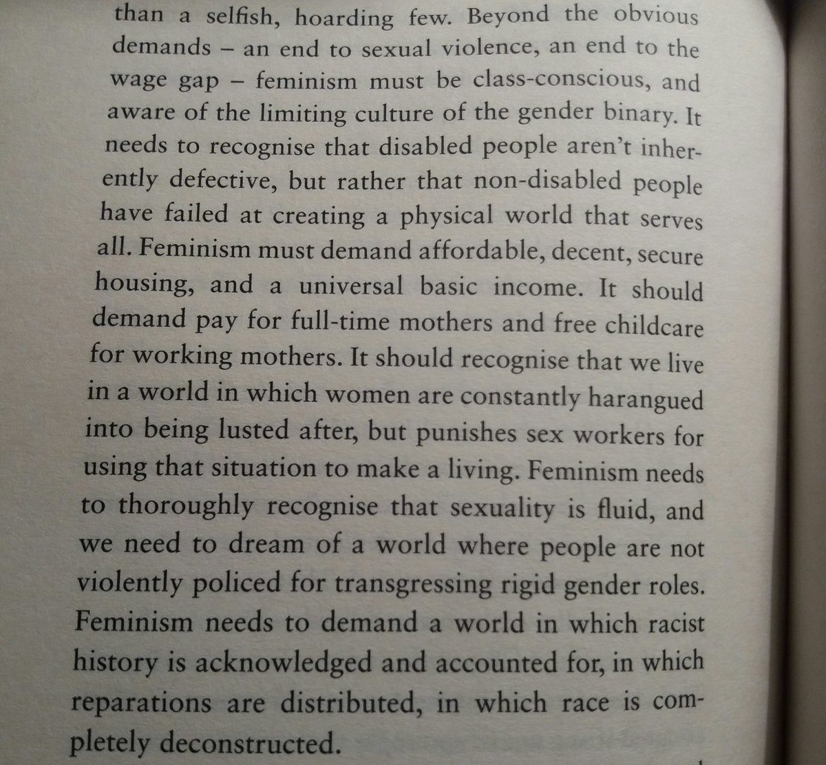What feminism should demand. #intersectionality   &quot;Why I&#39;m No Longer Talking to White People about Race&quot; @renireni @BloomsburyBooks   p182<br>http://pic.twitter.com/tmYSkmt7QG