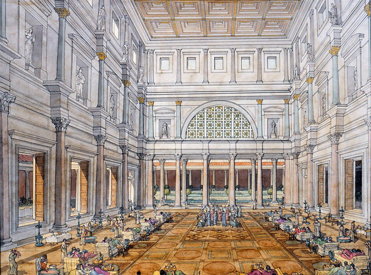 Guests of the emperor recline in the large triclinium of the Flavian Palace, completed by Domitian in 92 AD, Golvin #roman #architecture <br>http://pic.twitter.com/0wrmNgGyb3