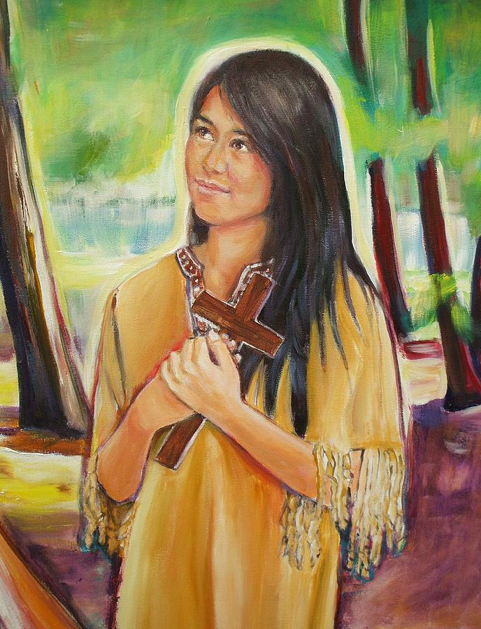 The patroness of #Indigenous peoples &amp; care for #creation was canonized on this day in 2012. #SaintKateri pray for us. Art by @SheilaDiemert<br>http://pic.twitter.com/zU6iZmndVX