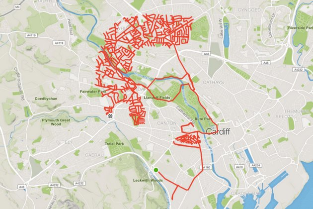 Cyclist creates amazingly intricate piece of Strava art on the streets of Cardiff | https://t.co/wVRI7QGy5T