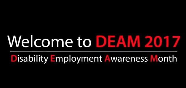 Help us bust #disability employment myths during #DEAM 2017. Watch this video from our #DEAM Team to learn more  http:// ow.ly/B3RO30fAxrF  &nbsp;  <br>http://pic.twitter.com/O2m0syccUR