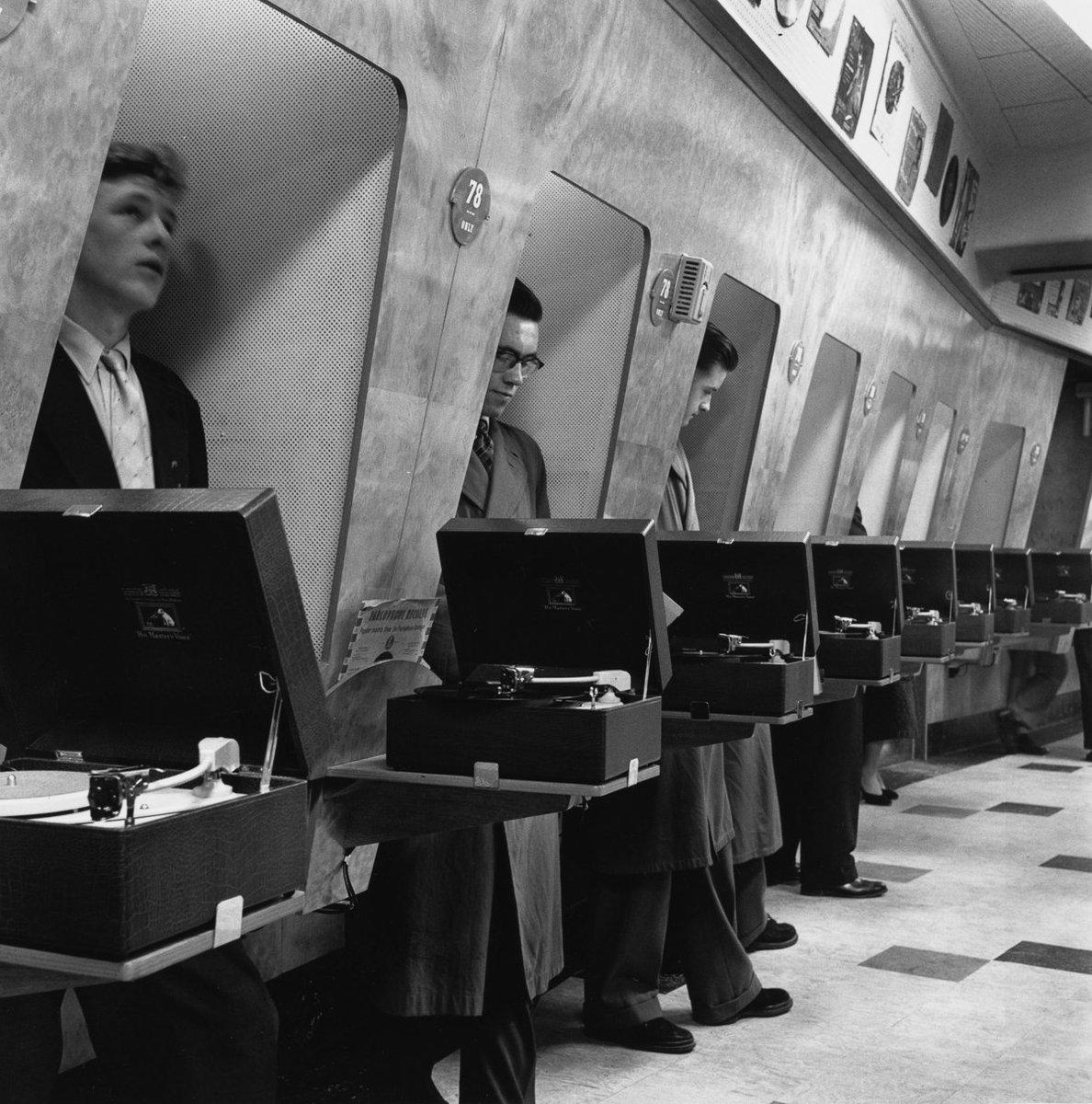 Vinyl listening booths, London; 1955