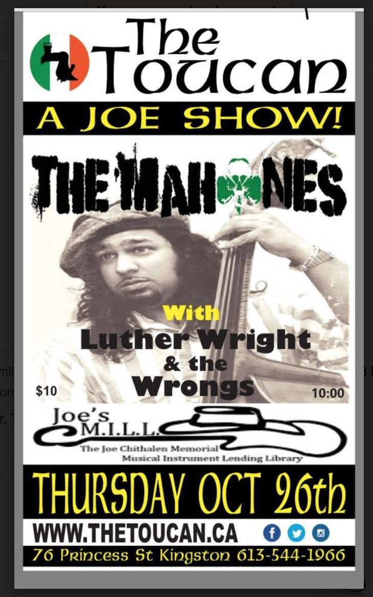 A Joe Show! for @JoesMILL feat. @THEMAHONES &amp; #lutherwrightandthewrongs @TheToucanPub Thurs Oct 26 #mylisteninglife Pls retweet widely #ygk <br>http://pic.twitter.com/ABfJi386oj