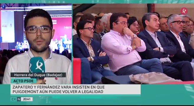 Respaldo del PSOE nacional y regional al gobierno. Desde Herrera del Duque, Zapatero y Fernández Vara piden a Puigdemont que rectifique.#EXN https://t.co/15gz3PD1AG