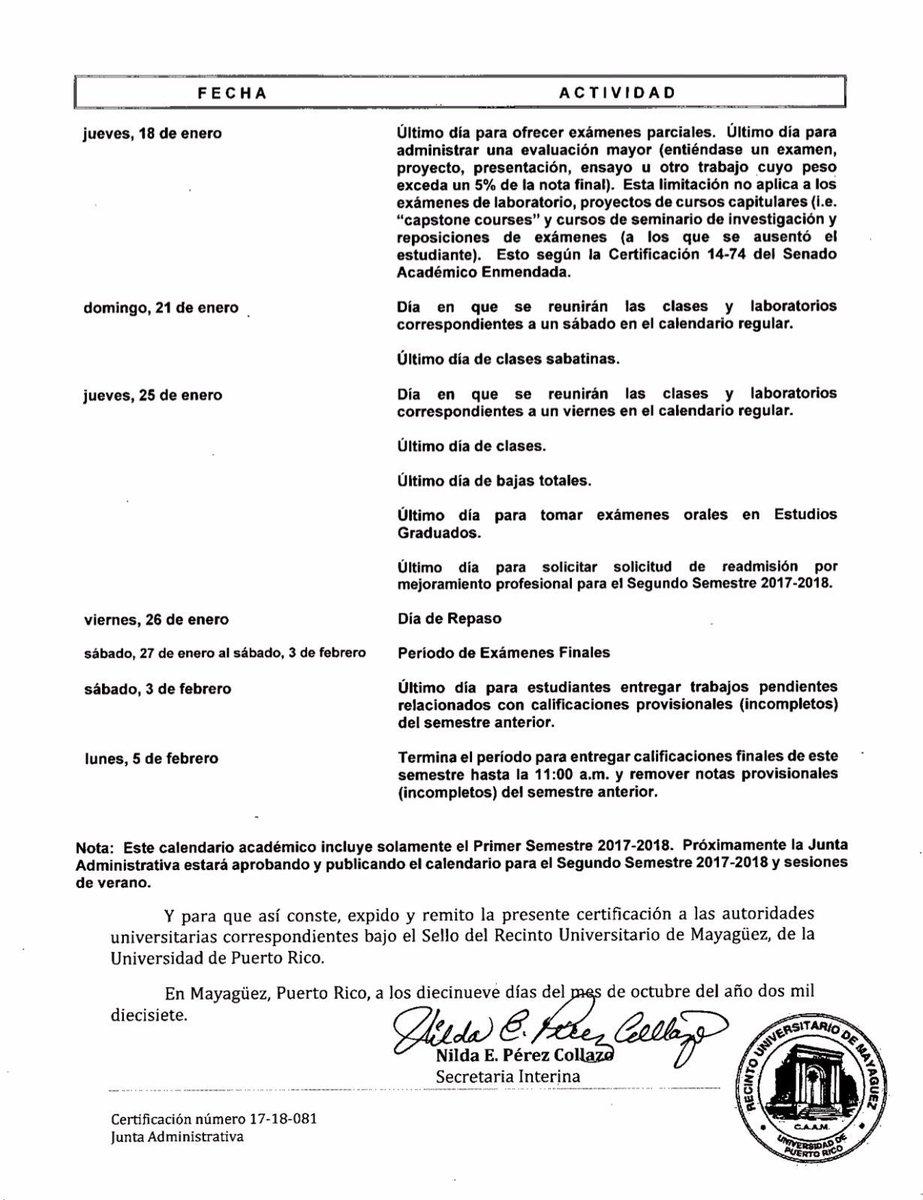 Cge Rum On Twitter Enmiendas Al Calendario Académico Para El