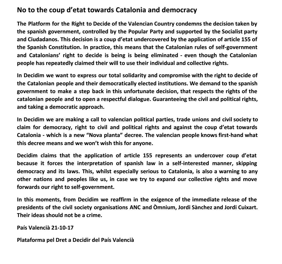 @DaDPV says no to the coup d&#39;etat towards Catalonia   http:// peldretadecidir.cat/index.php/item /833-no-to-the-coup-d-etat-towards-catalonia-and-democracy &nbsp; …  #GolpeDeEstado  #Solidarity #FreeJordis #LlibertatJordis<br>http://pic.twitter.com/oES5ZXwAnw
