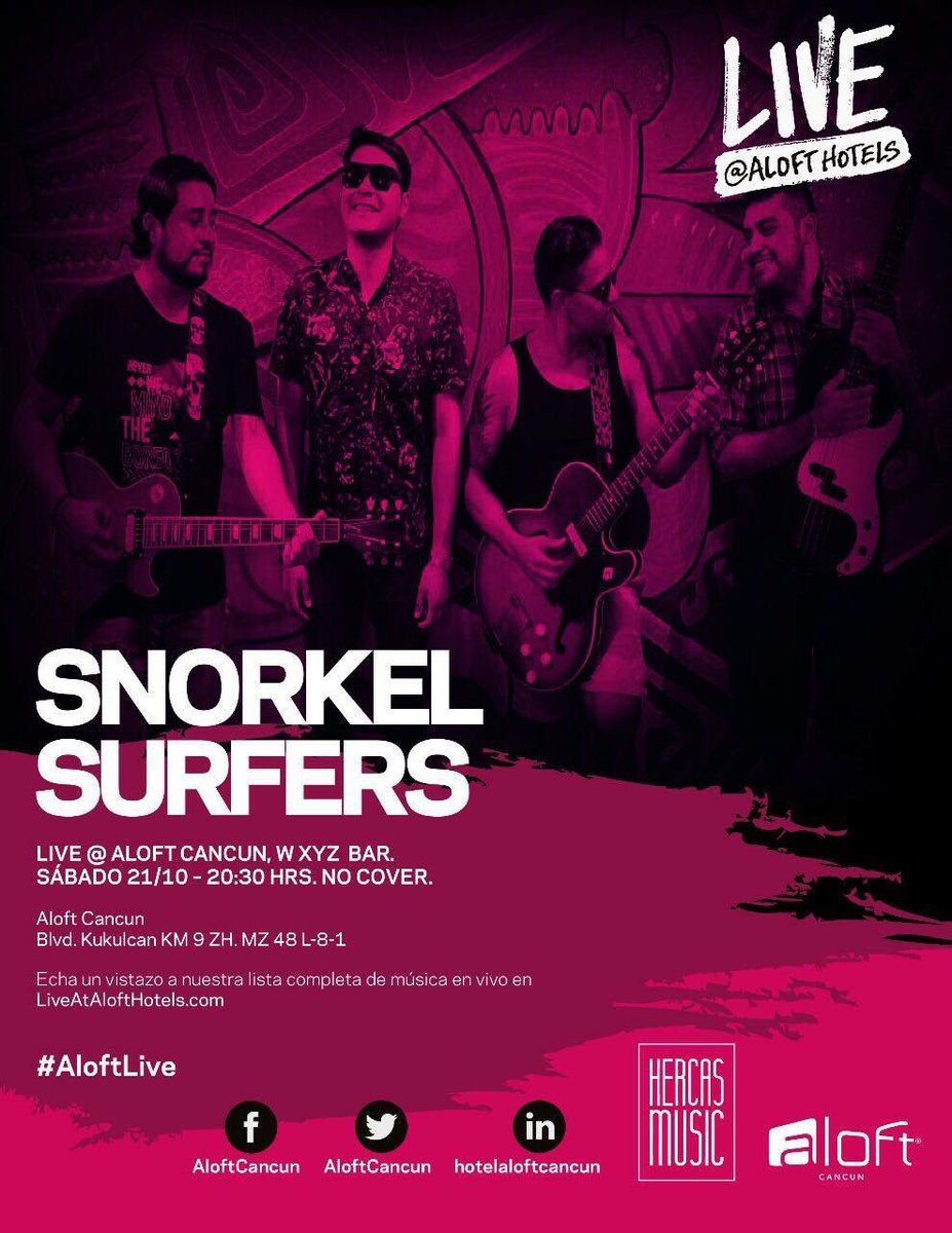 #SábadoMúsicaY y los snorkels surfers en @AloftCancun @AloftHotels @pepeyanez @LeoTheCervantyn #FelizSabado @ViveloCancun @AltavozCancun<br>http://pic.twitter.com/N9RMhDD0Yh