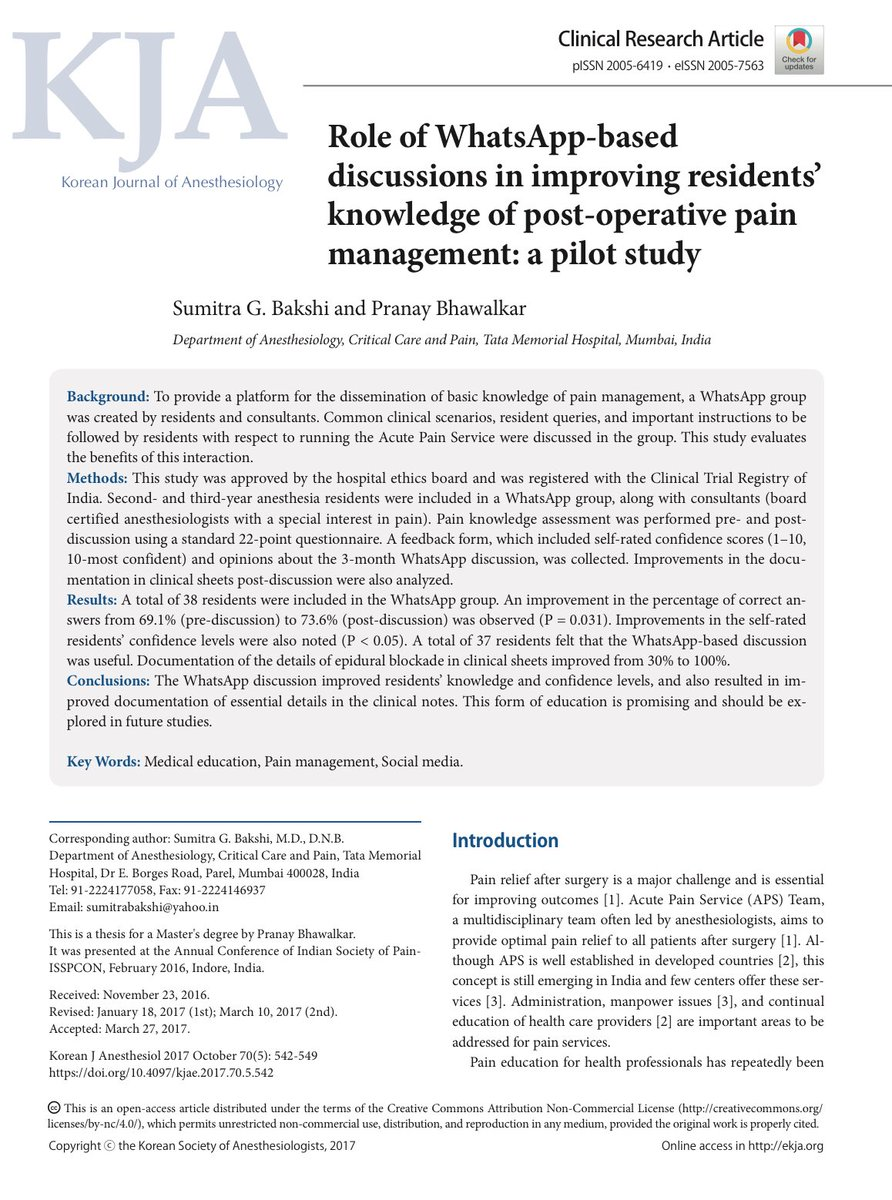 Cool concept• Role of @WhatsApp based discussions in improving residents&#39; knowledge of postop #pain mgmt  http:// QxMD.com/r/29046774  &nbsp;   #ANES17<br>http://pic.twitter.com/O64MOMKxQu