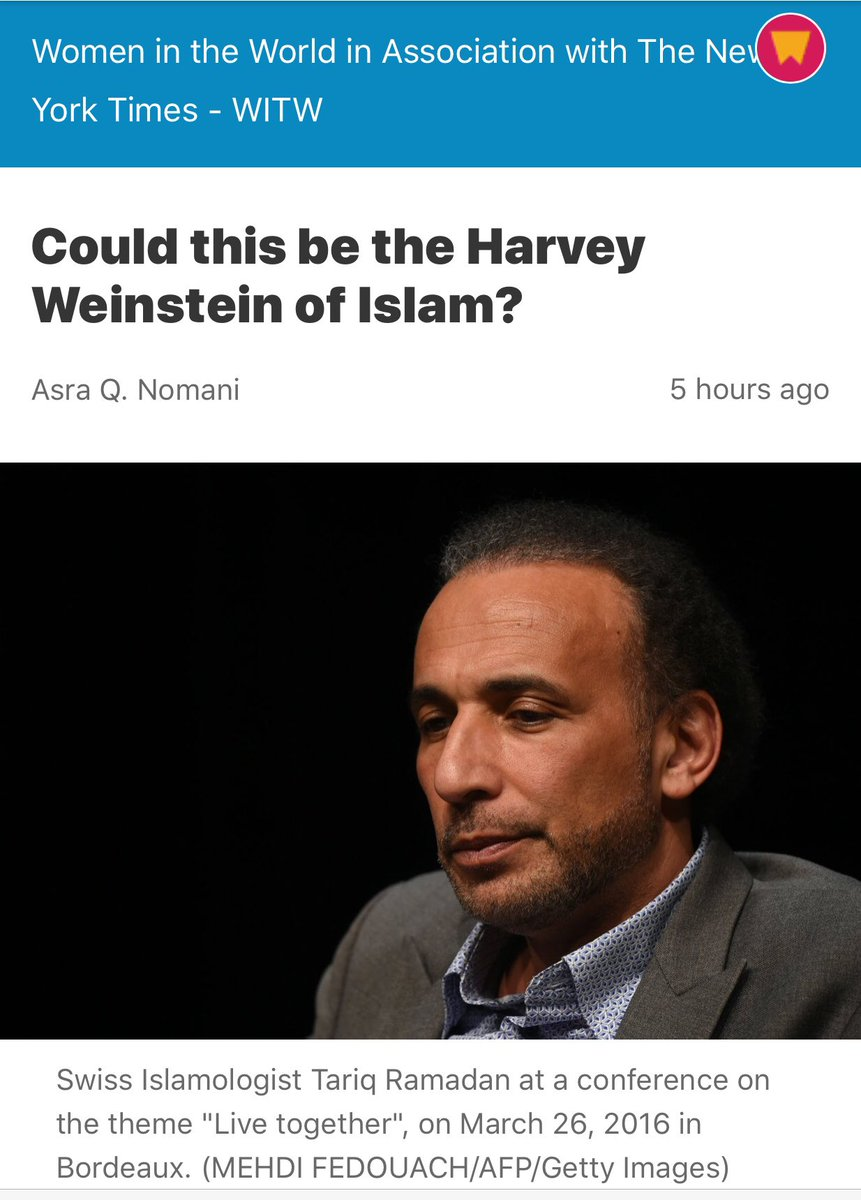 All those articles on #Weinstein &amp; correctly no mention of his religion, but here with just one accusation, it's now an 'Islamic' problem! <br>http://pic.twitter.com/yFFJp5NaHz