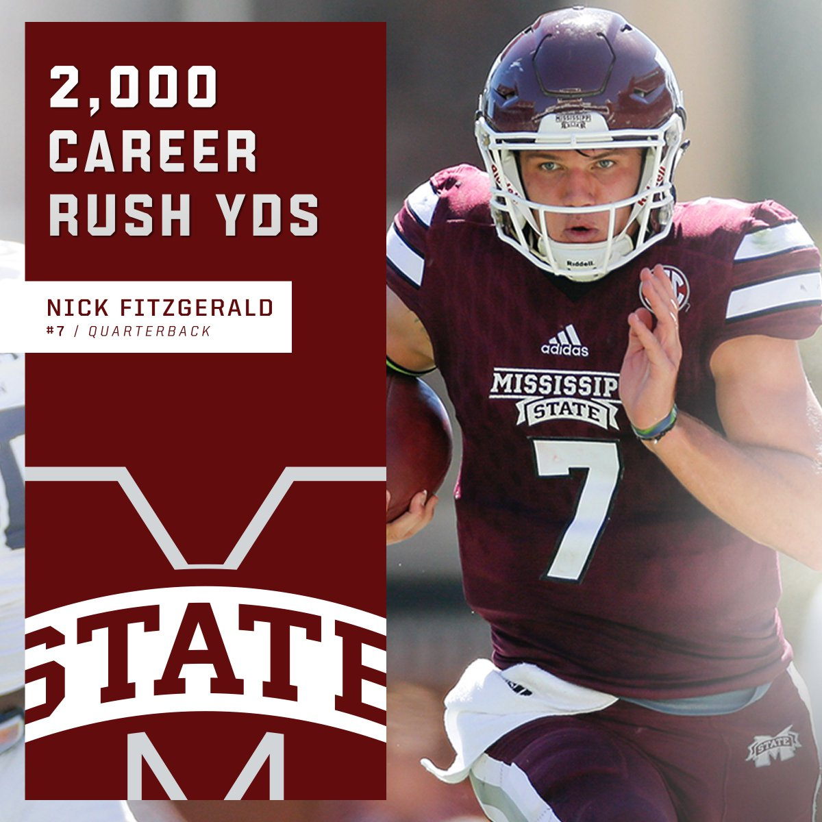 🔥Nicky Fitz 🔥  The 7th QB in @SEC history to rush for 2,000+ yards: @HailStateFB's Nick Fitzgerald.