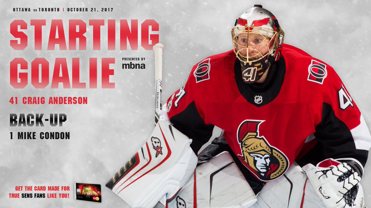 ICYMI: Anderson starts in goal, DiDomenico checks in and more in our #Sens Line-up Notes for tonight's game.  READ: https://t.co/gSrnPKCcV1