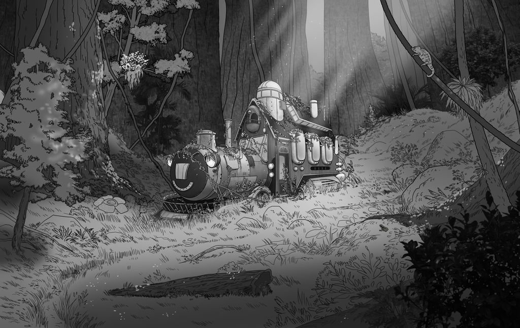 One of our early sketches, our characters encounter a mysterious train in the middle of the forest :)   #elearning #gamedev #MobileApp<br>http://pic.twitter.com/oUlCLUDSvD