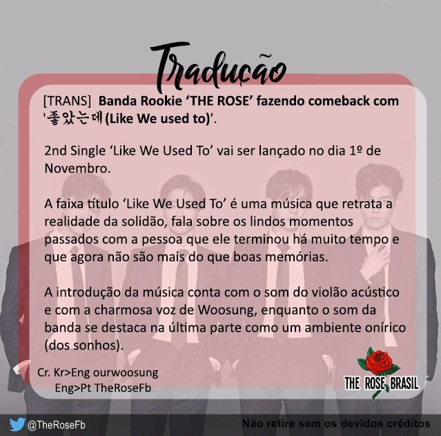 [#TRANS] Banda Rookie &#39;THE ROSE&#39; fazendo comeback com &#39;좋았는데(Like We used to)&#39; •21.10.17•    http:// entertain.naver.com/read?oid=022&amp;a id=0003218496 &nbsp; …   #TheRose #더로즈<br>http://pic.twitter.com/dp1M6mm7zZ