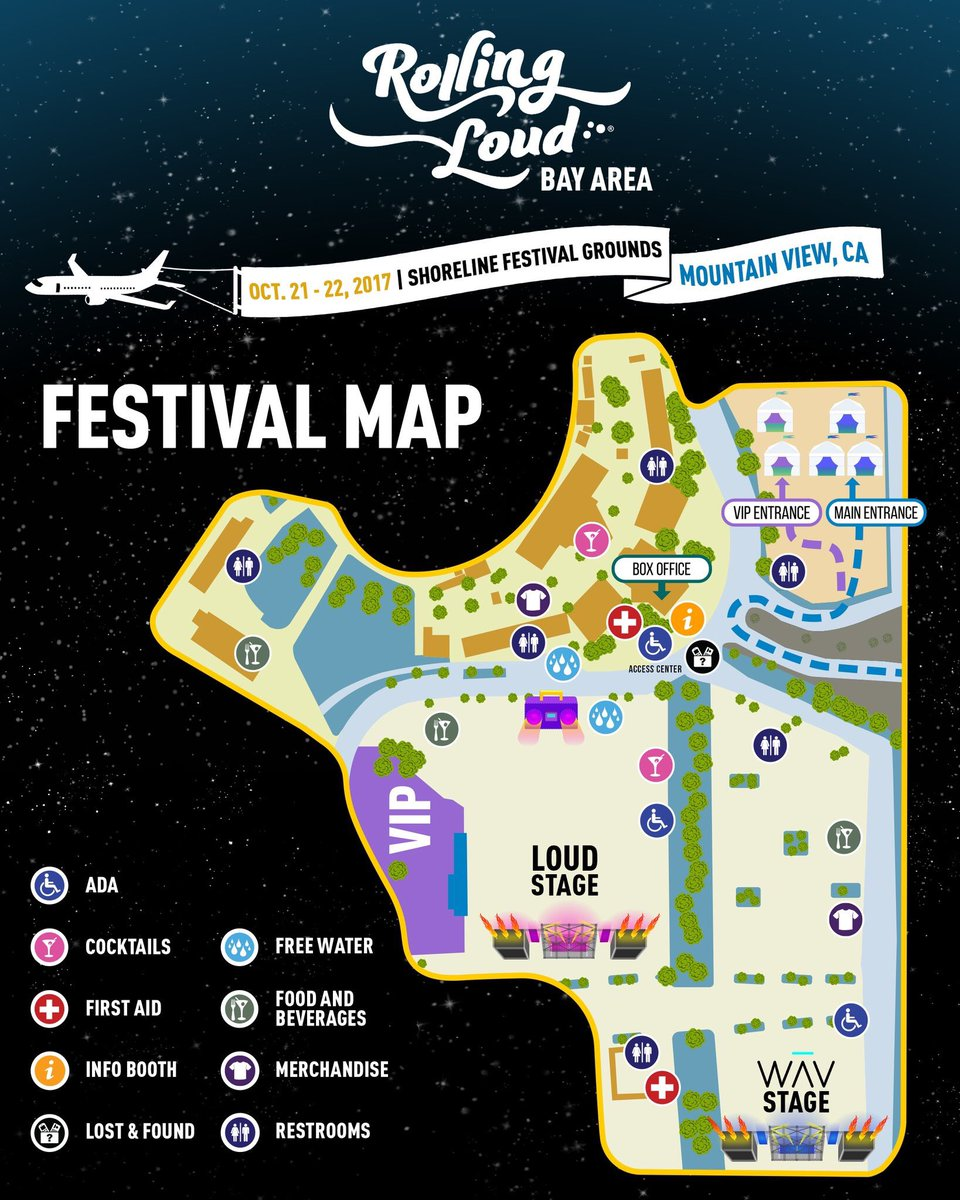 """Site Map 2018: Rolling Loud On Twitter: """"Save This Map To Your Phone So"""