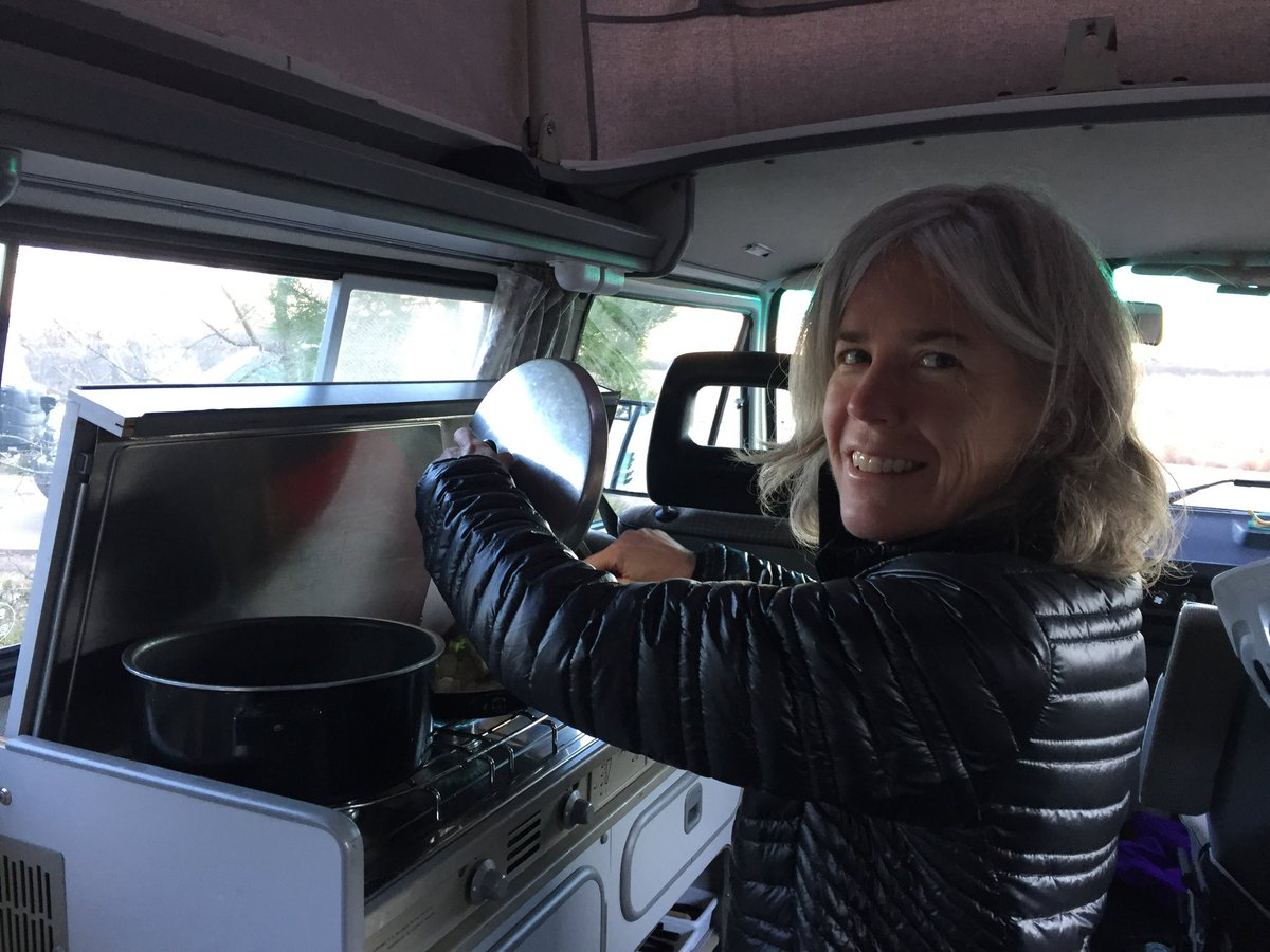 Cooking dinner in our Westfalia 1989 after 12 miles MTB riding in CO Springs CO. #mtb #mountainbike #vanlife #gowesty<br>http://pic.twitter.com/SyOdyAGg8l
