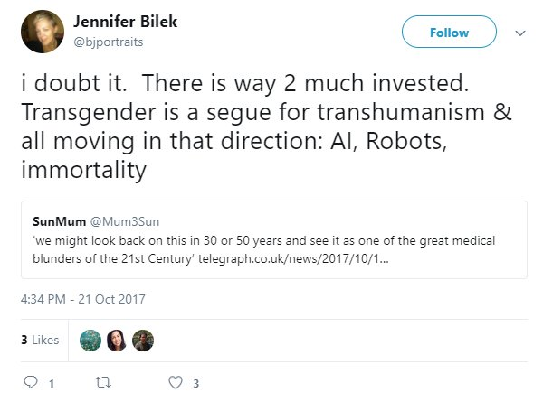 Today in #TERF rhetoric: TERF claims that #trans identities are just a means for encouraging development of tech to create immortal robots. <br>http://pic.twitter.com/dQmt7WLGtS
