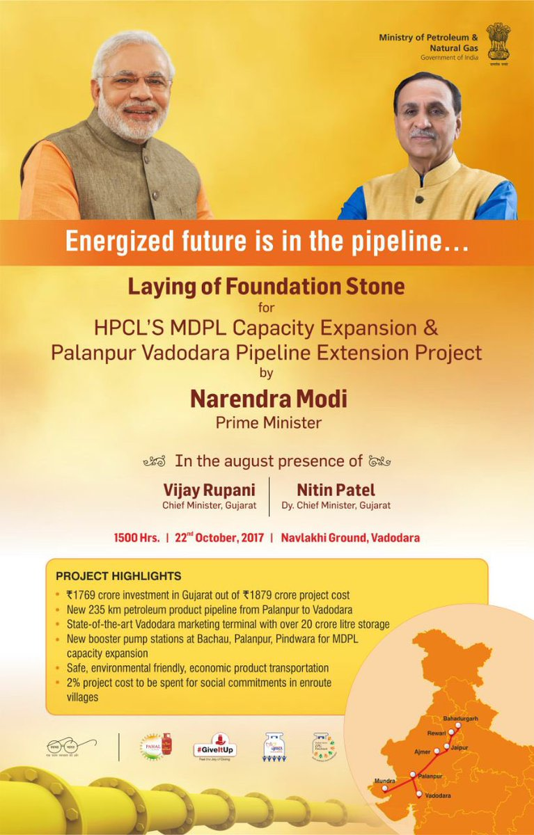 Hon. PM will be laying Foundation Stone of HPCLs MDPL Capacity Expansion &amp; PVPL Extension Projects at Vadodara, Gujarat, today. #StayTuned <br>http://pic.twitter.com/NA7hzK1FAK