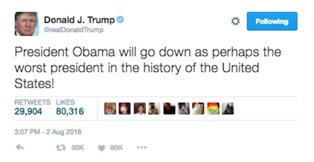 Jokes on you @realDonaldTrump  you are the worst #FakePresident in history. @BarackObama was the best #President <br>http://pic.twitter.com/Mzoy5Ucart