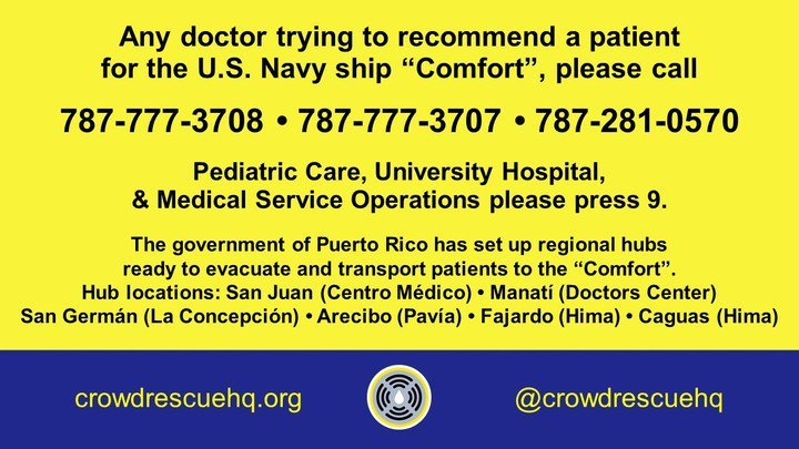 #USNavy Ship USNS #Comfort has beds Available   You and/or LovedOnes Need #MedicalCare in #PuertoRico? Here&#39;s how to access those beds<br>http://pic.twitter.com/oPVcQRM5cW