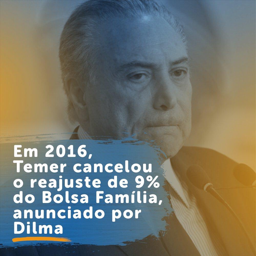 O usurpador @MichelTemer cancelou o reajuste médio de 9% do Bolsa Família!