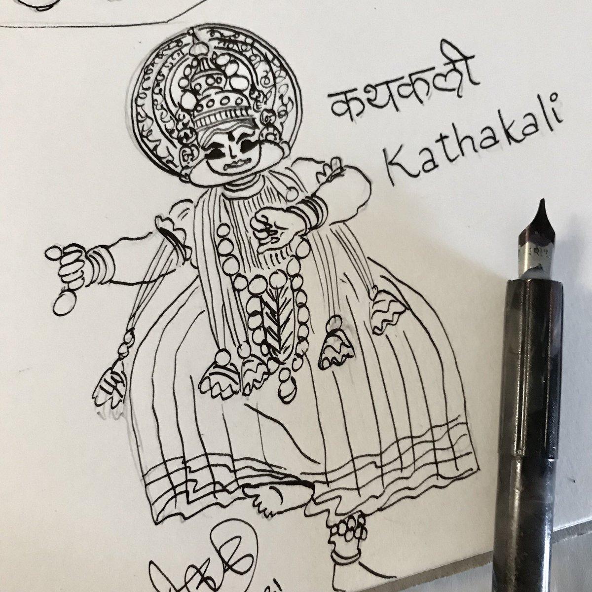 Devika Joglekar On Twitter Kathakali Inktober17 Inktoberday21 Kathakali Kerala Indian Classical Dance Ink Sketch Sketchbook Illustration Incredibleindia Https T Co Uu8mslfqxx