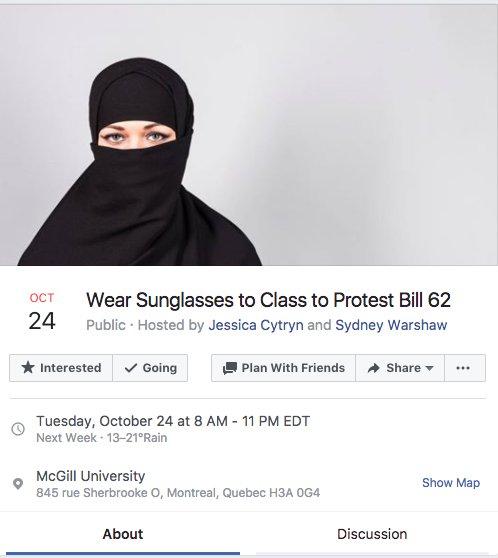 Wear Sunglasses to Class to Protest Bill 62 (October 24th at McGill University):  https://www. facebook.com/events/5342151 70263365 &nbsp; …  #Bill62 #cdnpoli #polqc #mcgill<br>http://pic.twitter.com/17lrqqpanT