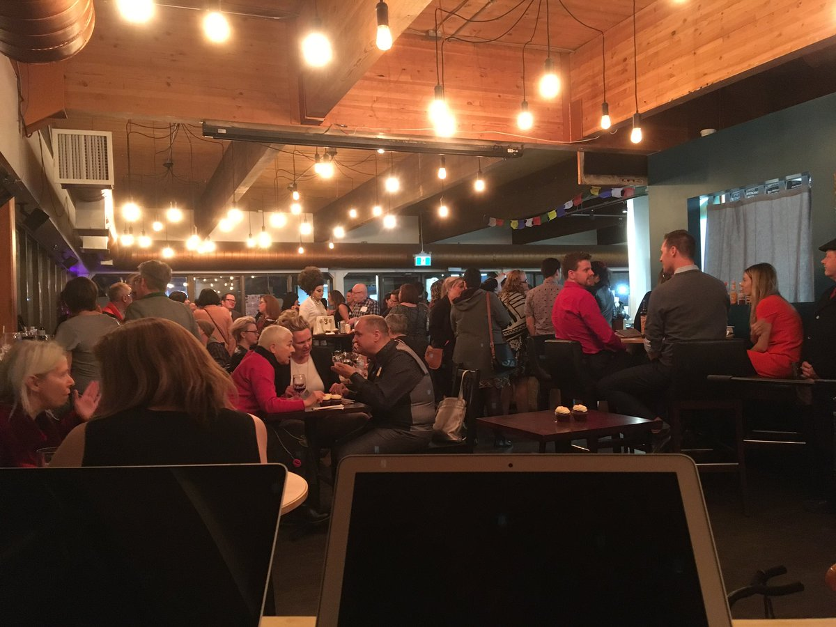Full house with the reception for @YEGPrideCentre and their Paint The Town Red event! Love love LOVE our neighbours! #yegpride #yegdt<br>http://pic.twitter.com/N9B5irOLZh