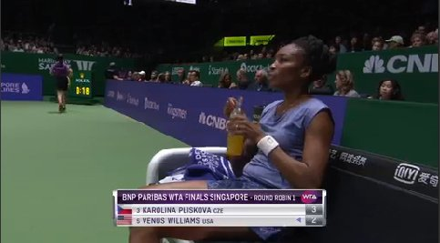 Back on serve!  A sharp return from #Williams forces #Pliskova into the error- break point- and the Czech double faults!  2-3...<br>http://pic.twitter.com/GvKKpt8M7P