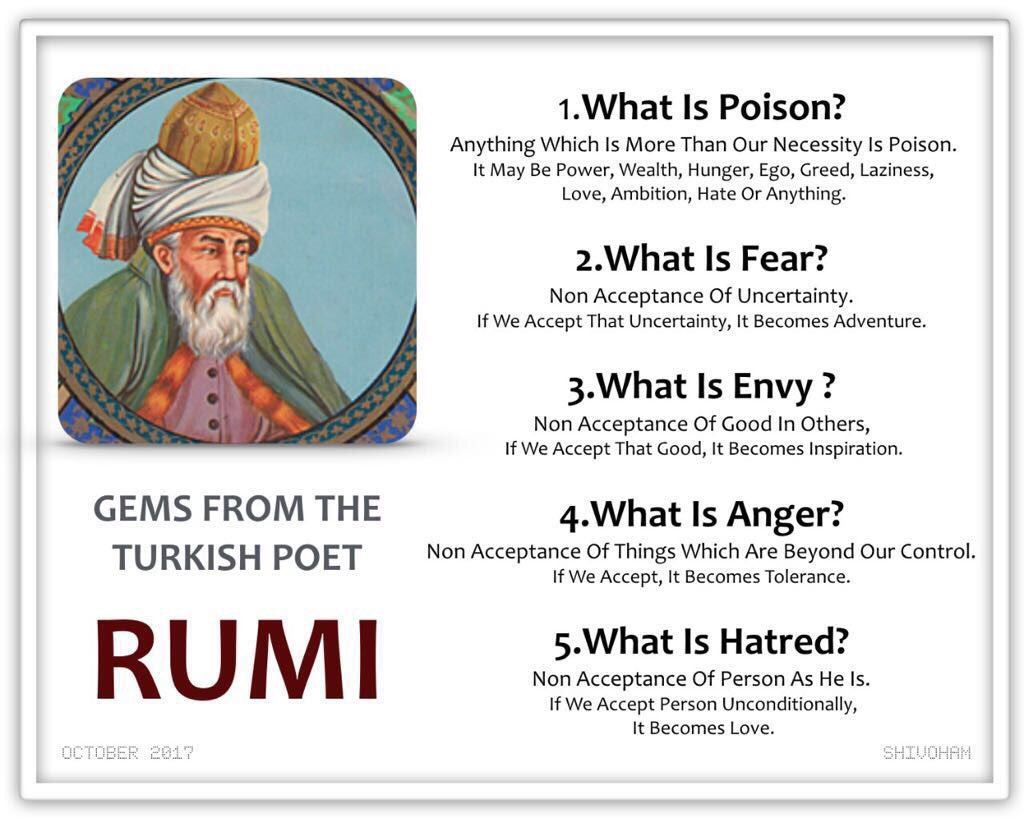 What is #Poison #Fear #Envy #Anger #Hatred - #Rumi #Quotes<br>http://pic.twitter.com/0RTjcCRbdZ