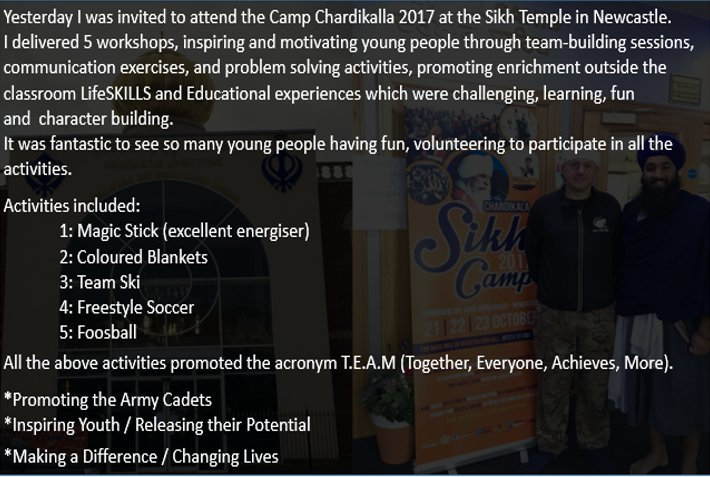 Yesterday I was invited to attend the Camp Chardikalla 2017 at the Sikh Temple in Newcastle. I delivered 5 Workshops @ArmyCadetsUK #fun <br>http://pic.twitter.com/mqoslKKbGl