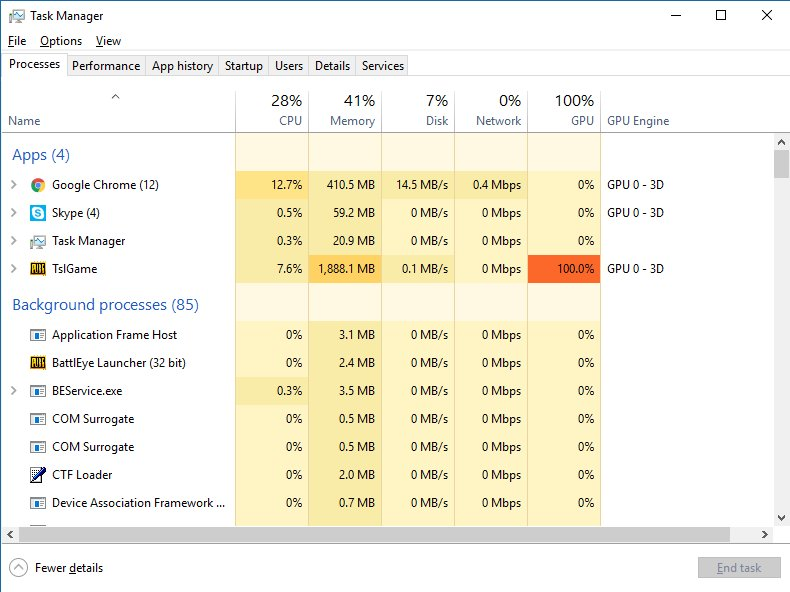 I like the extra task manager column in Windows 10 1709 for GPU use! https://t.co/e2BBP322d3