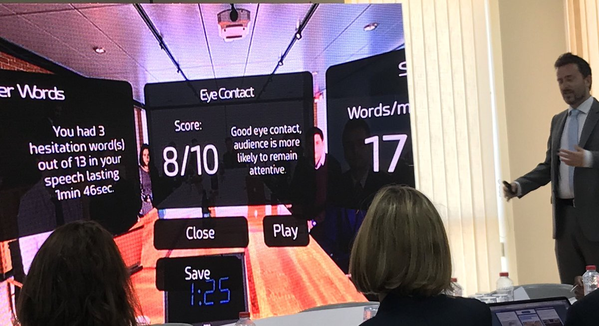 Love the idea of getting #Public #Speaking practise using #VirtualReality   @steve_bambury on great form at #JESSsummit<br>http://pic.twitter.com/cg5RRVP70d