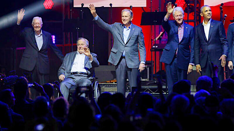 """The 5 living President's Final """"Farewell to Civilization""""Tour. Bye, bye Decency! #Carter #Bush #Clinton #Obama #Hurricane #OneAmericaAppeal<br>http://pic.twitter.com/fB0lbnuXeT"""