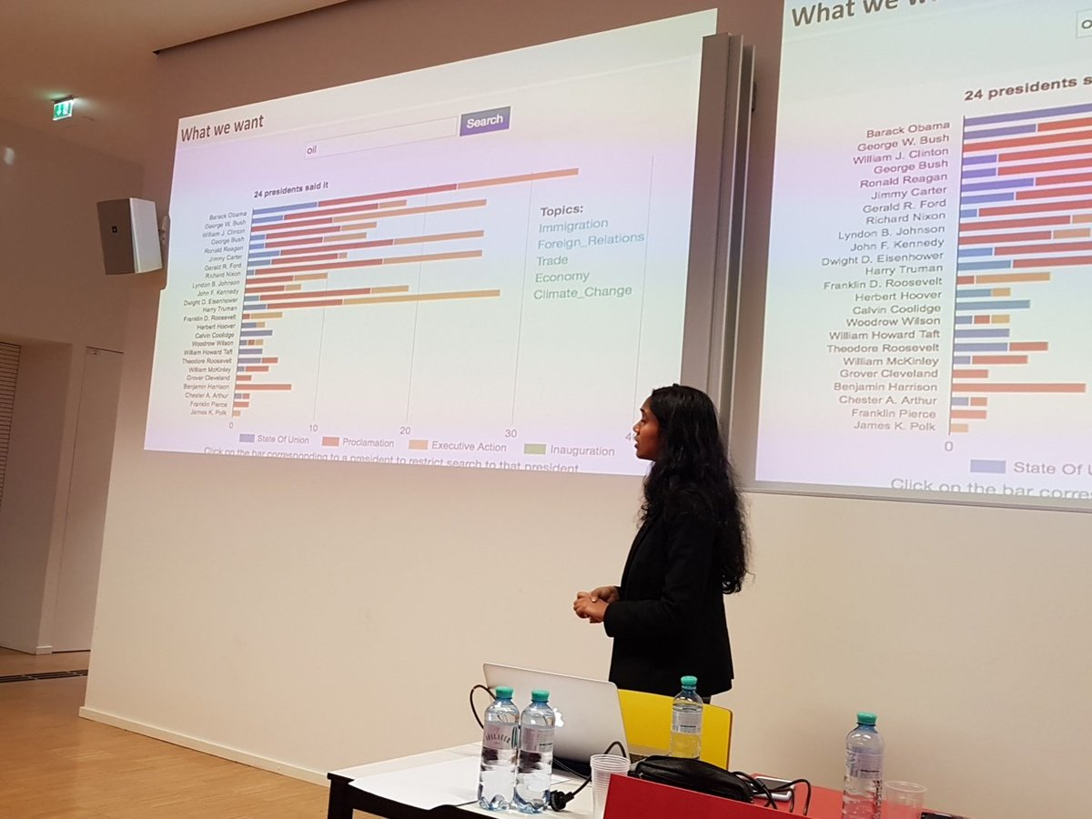 Can we understand American society by looking at presidential speeches? Sreya Guha presents &#39;Doris&#39; #iswc2017 #digitalhumanities <br>http://pic.twitter.com/AQ5Zdo6COk