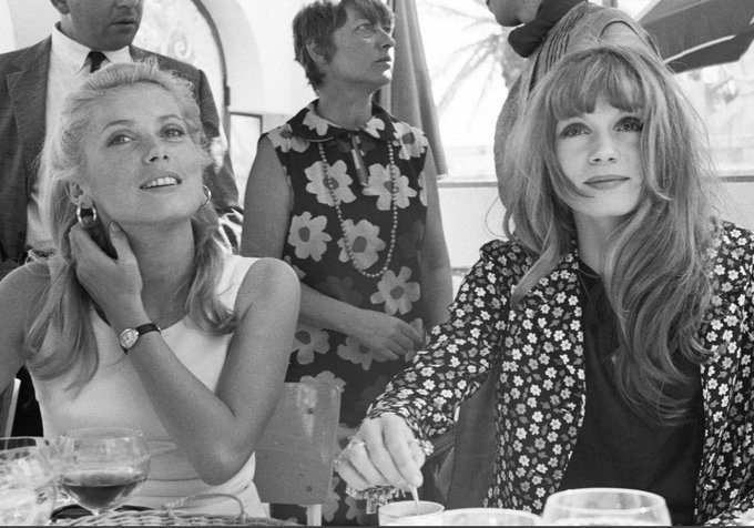 Happy birthday to Catherine Deneuve, who turns 74 today, with her sister Françoise Dorléac at Cannes in 1965.