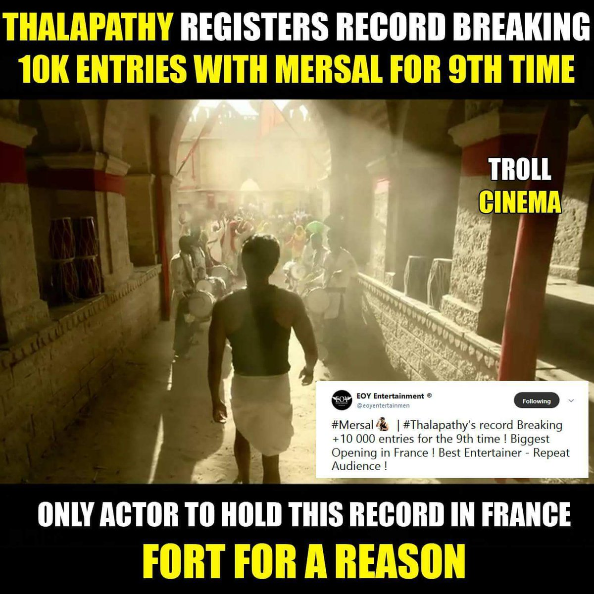 This is his 9th 10K entries in #France   Fort For A Reason ! #Mersal  #ThalapathyVijay #BlockbusterMersal <br>http://pic.twitter.com/bqXdNOUw4v