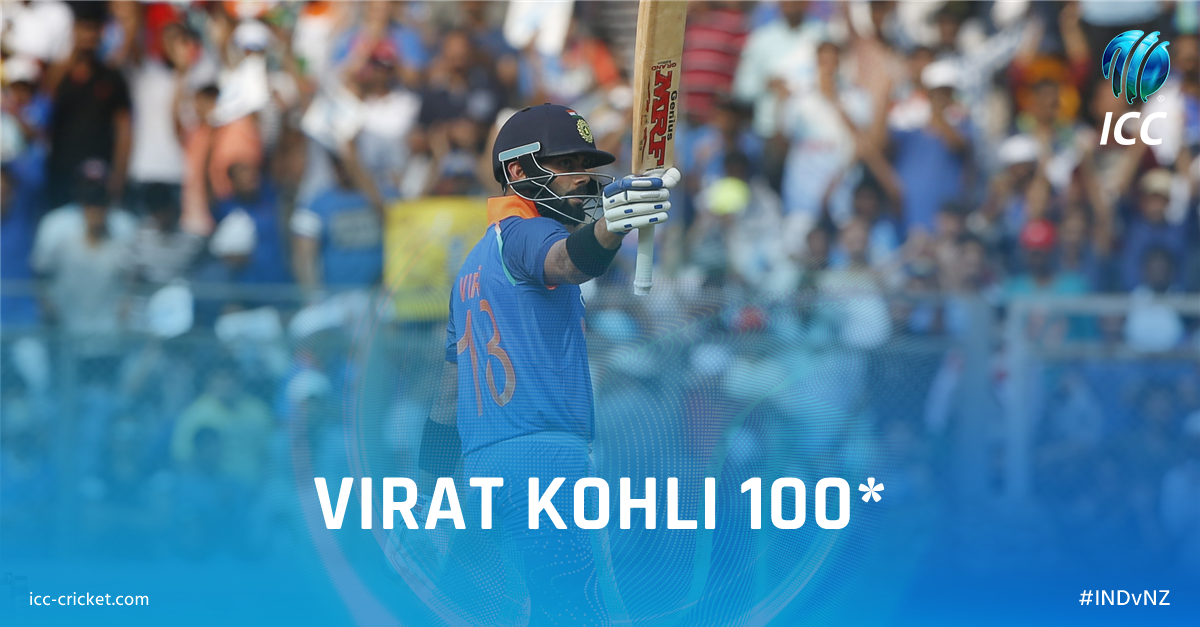 What a player 🙌  Virat Kohli hits the 31st ODI century of his career as India push on in Mumbai. #INDvNZ   Live ➡️ https://t.co/WRaOLHPaSG