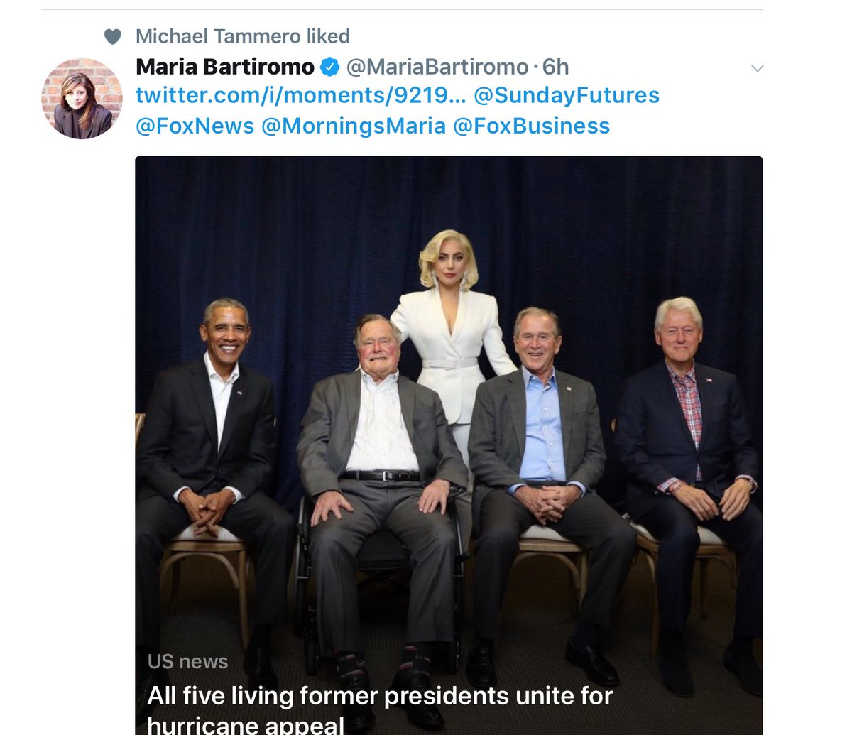 This cropped pic tweet (see pic caption) looks like Lady Gaga is one of the '5 living former Presidents')