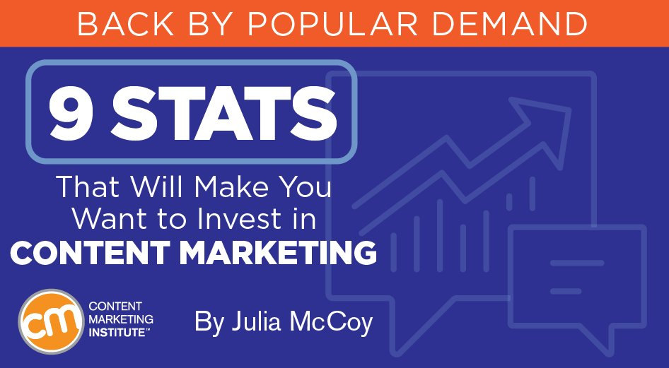 9 Stats That Will Make You Want to Invest in #ContentMarketing  http:// msocial.bz/2yApxsU  &nbsp;  <br>http://pic.twitter.com/bjfZpBChEn