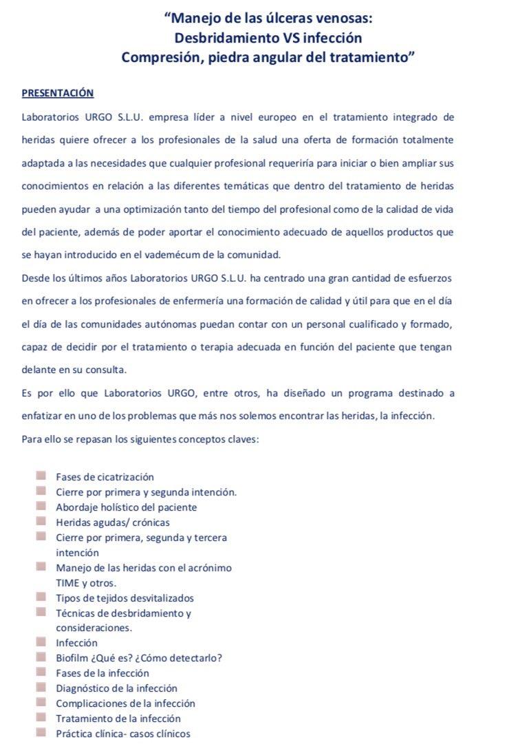 """Taller gratuito """"Manejo de las úlceras venosas: desbridamiento vs infección"""" en el Colegio, el 25/10 (17 a 19:30 hs.) con @UrgoMedical_es"""