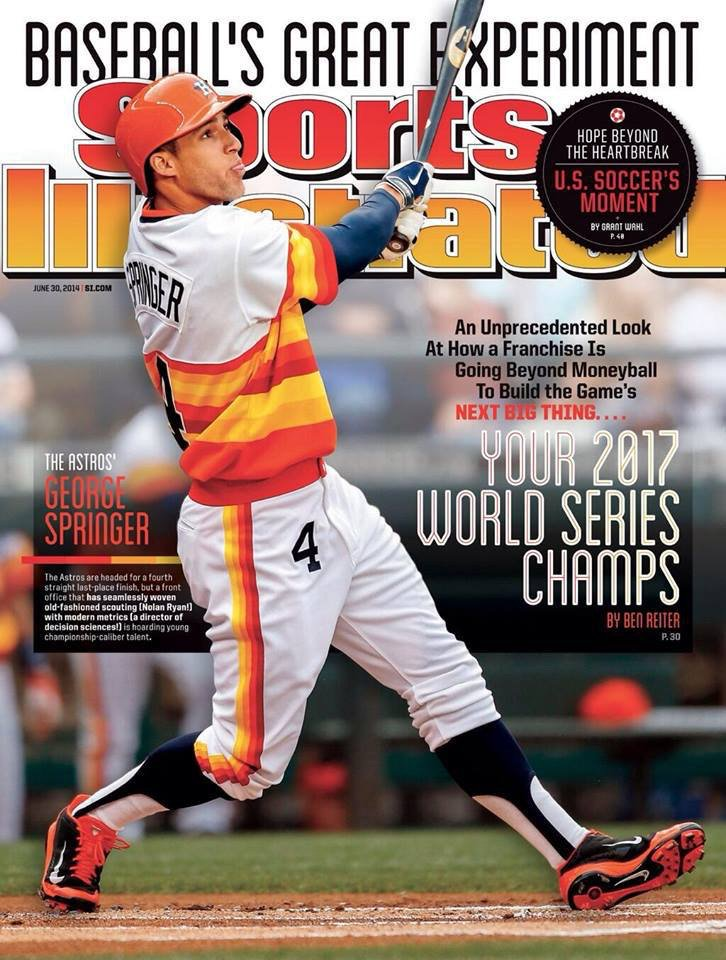 Sports Illustrated cover from June 2014 named Astros '2017 World Series Champs' 😳