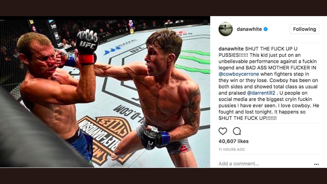 @danawhite just went sik on some haters  via #Instagram    #UFCGdansk #UFC #MMA #PureEVilMMA @MyMMANews  #TeamMMA4Life<br>http://pic.twitter.com/DtDKp41IoZ